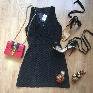 NWT Armani Exchange Black frill Skater Dress